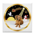 Night Flight/Dachshund #13 Tile Coaster