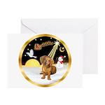 Night Flight/Dachshund #13 Greeting Cards (Pk of 2