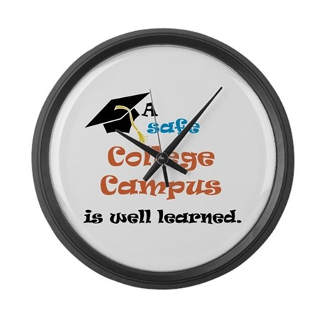 A Safe College Campus Large Wall Clock