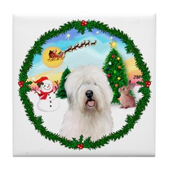 Old English Sheepdog Tile Coaster