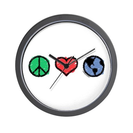 Peace, Love, Earth Wall Clock