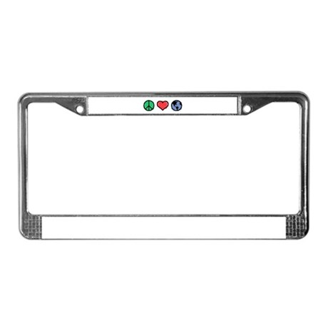 Peace, Love, Earth License Plate Frame
