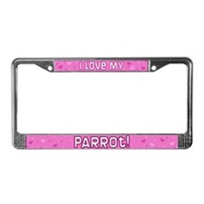 Pink Polka Dot Parrot License Plate Frame
