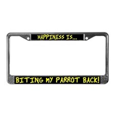 HI Biting my Parrot Back License Plate Frame