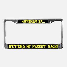 HI Biting my Parrot Back License Plate Frame