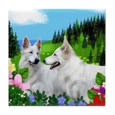 WHITE GERMAN SHEPHERD DOGS Tile Coaster