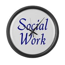 Social Work (blue) Large Wall Clock