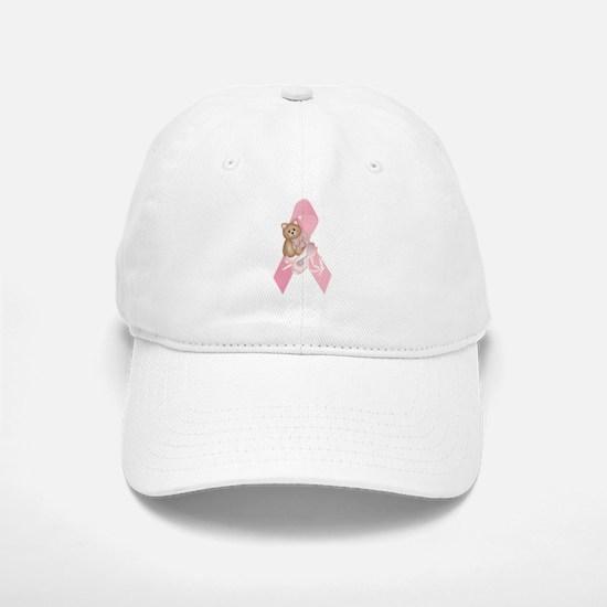 Breast Cancer Ribbon & Kitty Baseball Baseball Cap
