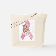 Breast Cancer Ribbon & Kitty Tote Bag