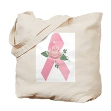 Breast Cancer Ribbon & Rose Tote Bag