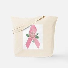 Breast Cancer Ribbon & Rose Tote Bag