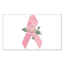 Breast Cancer Ribbon & Rose Rectangle Decal