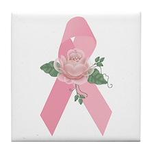 Breast Cancer Ribbon & Rose Tile Coaster