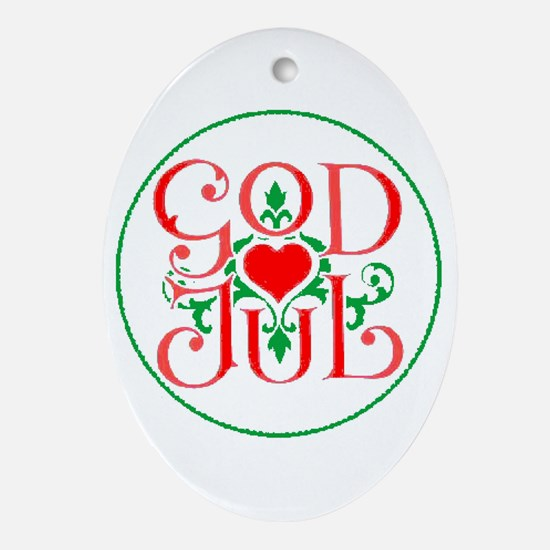 God Jul Oval Ornament