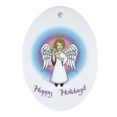 Holiday Angel Oval Ornament
