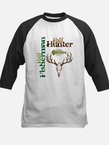 Half Fisherman. Half Hunter. Kids Baseball Jersey