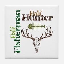 Half Fisherman. Half Hunter. Tile Coaster