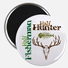 "Half Fisherman. Half Hunter. 2.25"" Magnet (100 pac"