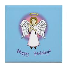 Holiday Angel Blue Tile Coaster