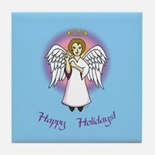 Holiday Angel Blue Tile Coaster