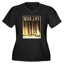 Wild Life Women's Plus Size V-Neck Dark T-Shirt