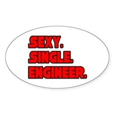 """Sexy. Single. Engineer."" Oval Decal"