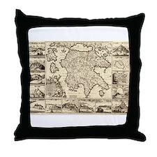 Ancient Greece Map Throw Pillow