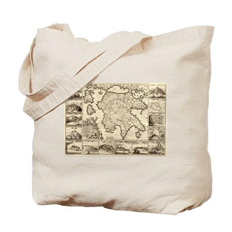 Ancient Greece Map Tote Bag
