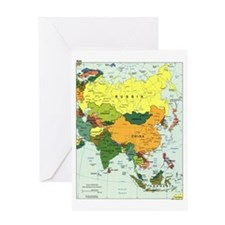 Asia Map Greeting Card