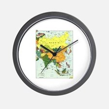 Asia Map Wall Clock