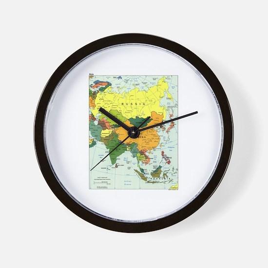 Asia Map Wall Clock