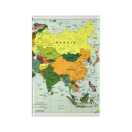 Asia Map Rectangle Magnet (10 pack)