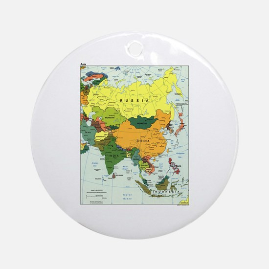 Asia Map Ornament (Round)