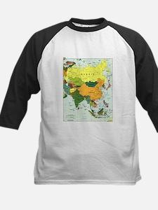 Asia Map Kids Baseball Jersey