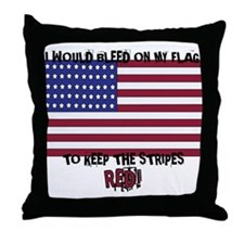 Cute I bleed white and blue Throw Pillow