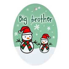 Unique Christmas little brother Oval Ornament