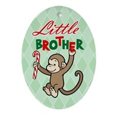 Funny Christmas little brother Oval Ornament