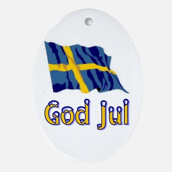God Jul Flag Oval Ornament