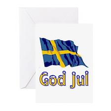 God Jul Flag Greeting Cards (Pk of 10)