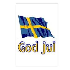 God Jul Flag Postcards (Package of 8)