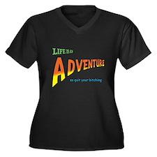 Life Is An Adventure Women's Plus Size V-Neck Dark