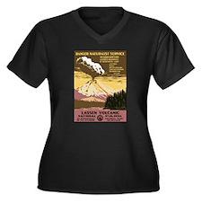 Lassen Park Women's Plus Size V-Neck Dark T-Shirt