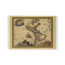 America Americas Map Rectangle Magnet
