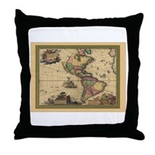 America Americas Map Throw Pillow