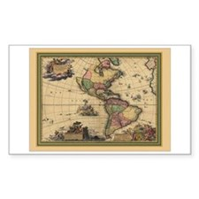 America Americas Map Rectangle Decal