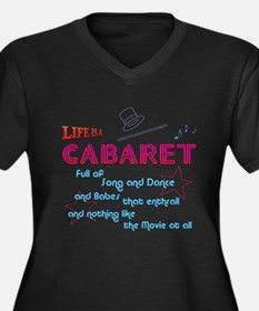 Life Is A Cabaret Women's Plus Size V-Neck Dark T-