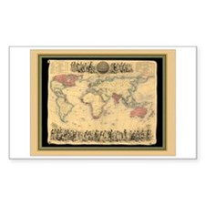 1850 British Empire Map Rectangle Decal