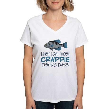 Crappie fishing day women 39 s v neck t shirt crappie for Womens fishing shirt
