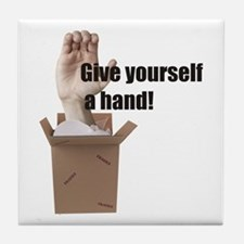 Give Yourself A Hand Tile Coaster