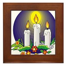 candle christmas gift shirt Framed Tile